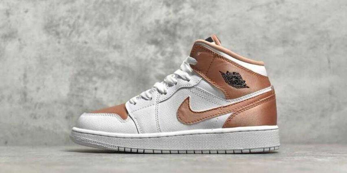 Buy Best Price Hot Air Jordan 1 Mid GS White Rose Gold Basketball Shoes