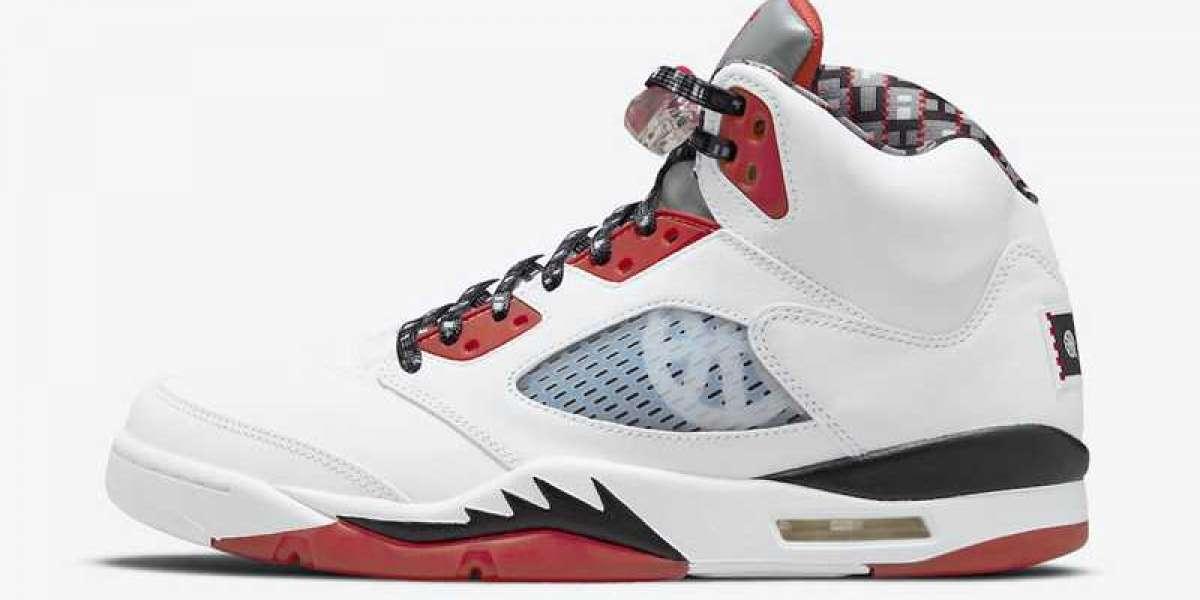 "This pair of Air Jordan 5 ""Quai 54"" DJ7903-106 shoes looks great!"
